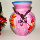 Christmas Vase Ceramic Home Decor Purple Red Santa Snowman