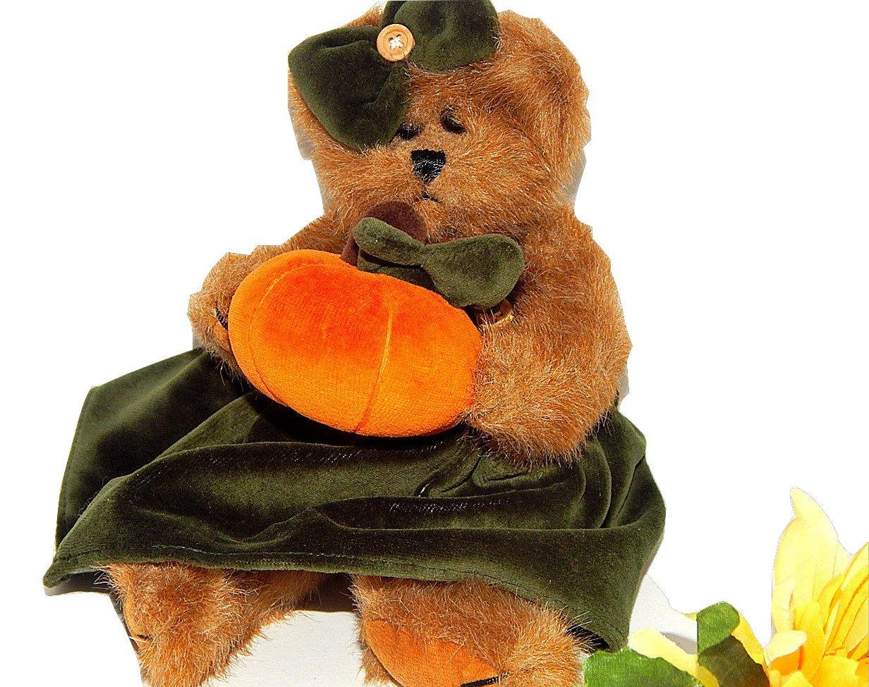 "Fall Halloween BEARINGTON BEAR 10"" Brown Plush Orange Pumpkin Green Dress"