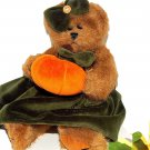 "Fall Halloween BEARINGTON BEAR 10"" Brown Plush Orange Pumpkin Green Dress"