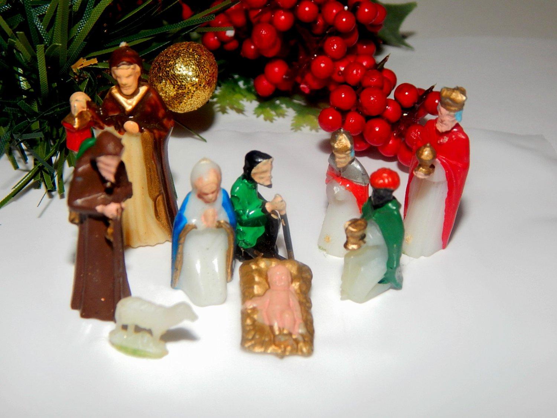 Antique Nativity Set 9 Pc Miniature Celluloid Bible Figurines Christmas Decor