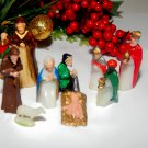 Antique Nativity Set 9 Pc Miniature Celluloid Bible Figurines Christmas Decor
