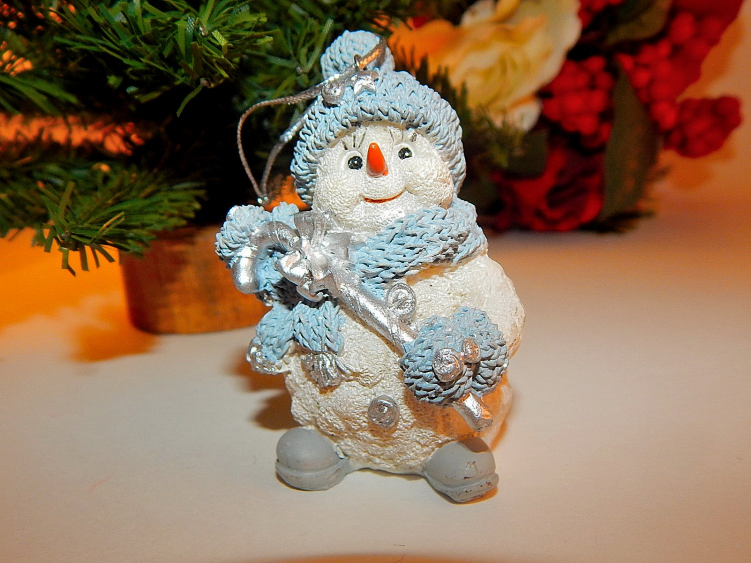snowman christmas tree ornament blue white and silver resin figurine winter decoration - Snowman Christmas Tree Decorations