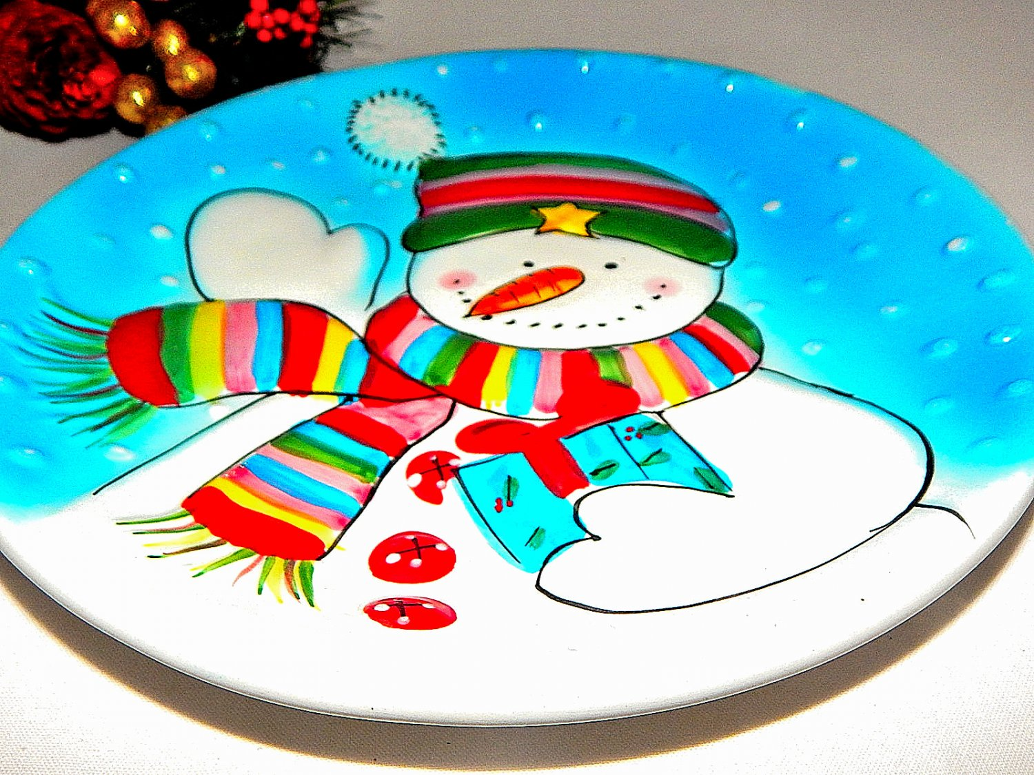 Blue and White Snowman Dessert Serving Plate Christmas Wall Hanging