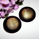 Black and Gold Earrings Big Round Dots Vintage 1980's Fashion Jewelry for Pierced Ears