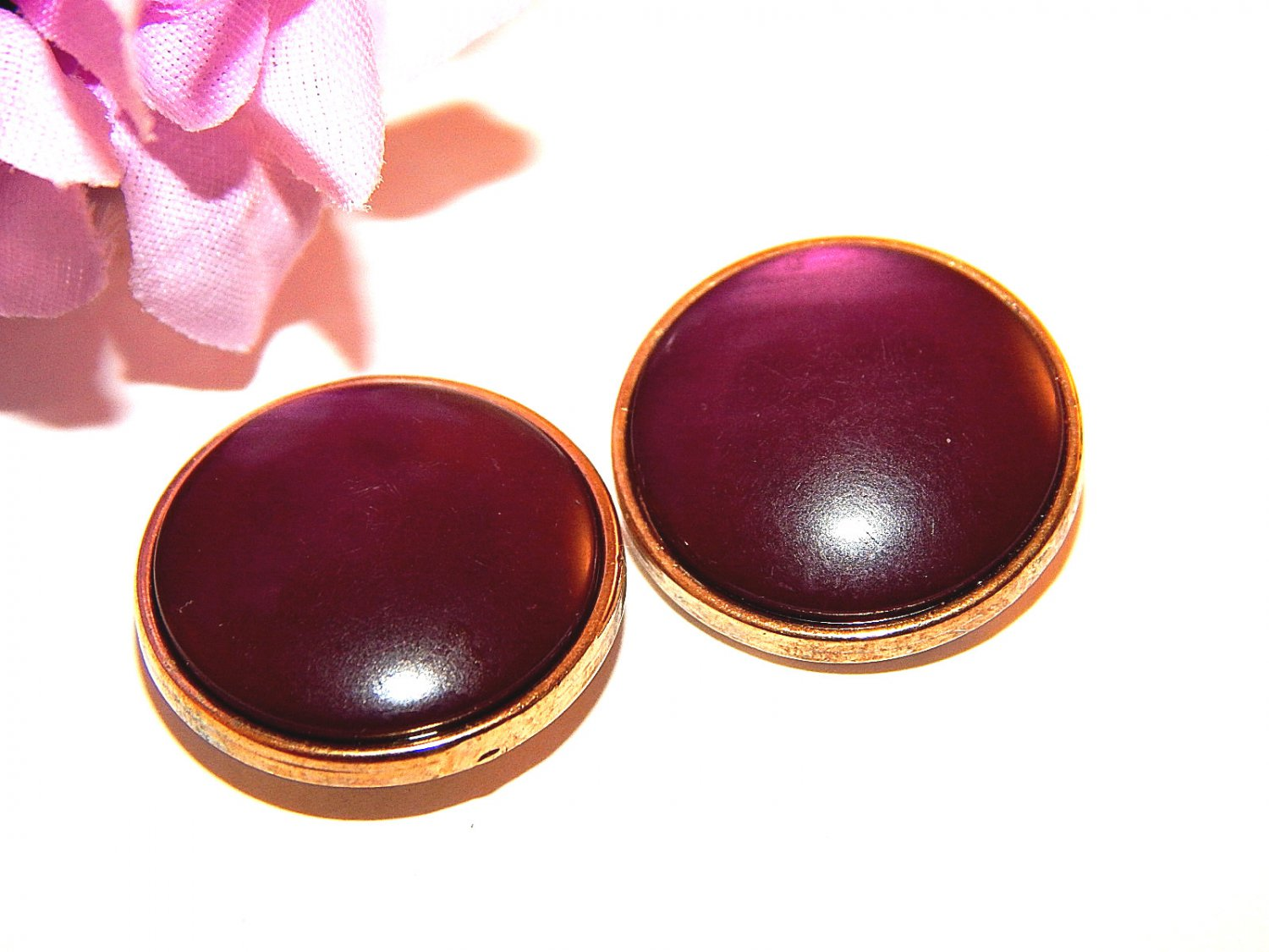 Purple Dot Earrings Gold Metal Framed Cabochon Jewelry Vintage 1970's Fashion for Pierced Ears