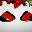 Red Black and Gold Triangle Earrings Metallic Geometric 1980's Fashion Jewelry for Pierced Ears