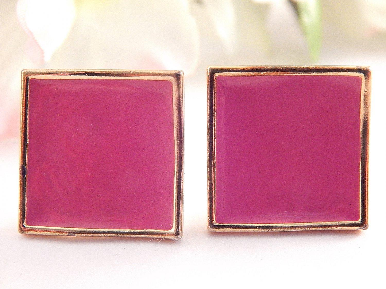 Pink Enamel Earrings Dusty Rose Gold Metal Squares Vintage 1980's Fashion Jewelry for Pierced Ears