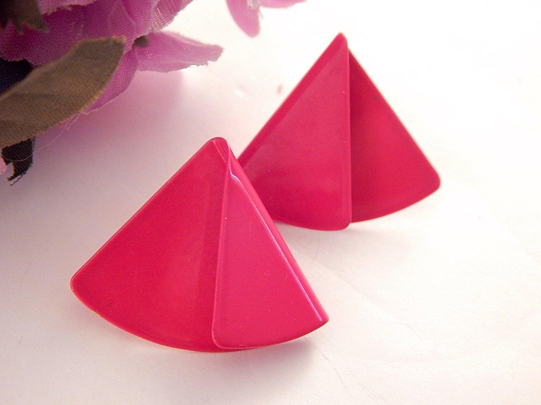 Pink Enamel Triangle Earrings Folded Fan Vintage 1980's Fashion Jewelry for Pierced Ears