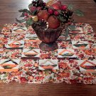 "Fall Floral and Fruit Quilted Table Runner 24"" Square Centerpiece Vintage Home Decor"