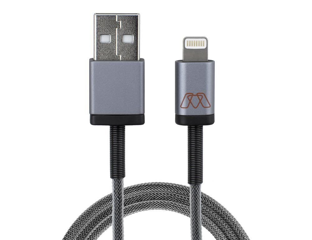 MOS Spring  Lightning Cable - Aluminum Heads, Steel Spring Relief & Exoskeleton