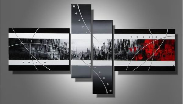 Abstract Handmade Oil Painting  the Gray Shades of Red  Handmade Painting Set of 4pcs