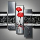 Roses-abstract, botanical-handmade painting-set of 5pcs