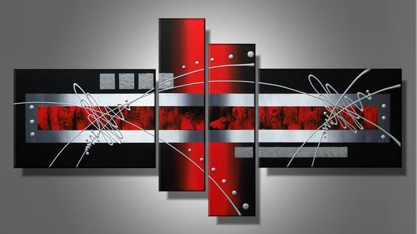 Black Grey Red -Abstract-handmade painting-set of 4pcs