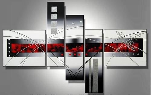 White Window -Abstract-handmade painting-set of 5pcs