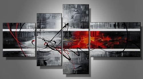 New York -Abstract-handmade painting-set of 4pcs