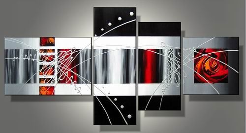 Loves -Abstract-handmade painting-set of 4pcs