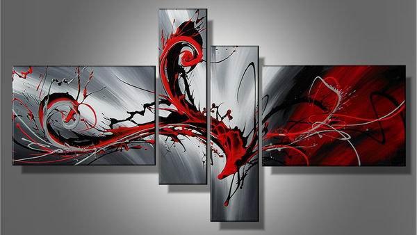 Magic red -Abstract-handmade painting-set of 4pcs