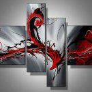 Magic red -Abstract-handmade painting-set of 4pcs
