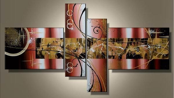 March TripAdvisor -Abstract-handmade painting-set of 4pcs