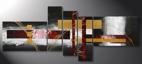 Shore -Abstract-handmade oil painting-set of 5pcs