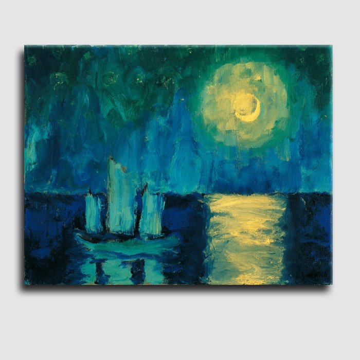 Moonlit Night_landscape abstract_handmade canvas painting_reproduction_Emil Nolde