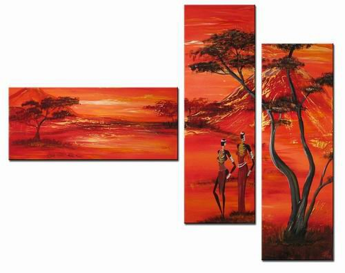 Red Night -Landscape , People , Botanical-handmade oil  painting-set of 3pcs