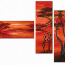 Red Night -Landscape , People , Botanical-handmade oil  painting-set of 3pcs