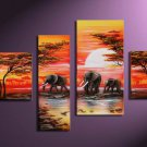 Savannah ,Landscape , Botanical , Animal-handmade oil painting-set of 4pcs