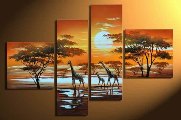 Sunset-Landscape, Animal, Botanical-oil on canvas oil paintings-Group paintings-set of 4pcs