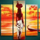 African Girl -People-handmade oil painting-set of 5pcs