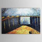 Starry Night over the Rhone-Oil on canvas oil paintings-Vincent Van Gogh-reproduction