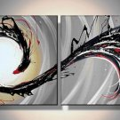 Phenix -Abstract-handmade oil painting-set of 2pcs