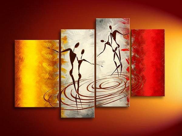 Water Dance -People-handmade oil painting-set of 4pcs