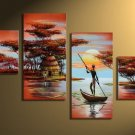African village -Landscape , People-handmade painting-set of 4pcs
