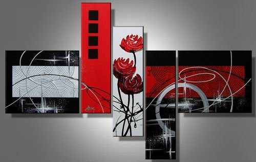 Phi Phi -Abstract , Botanical-handmade painting-set of 5pcs