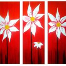 Flowers Sunset -Botanical-handmade painting-set of 3pcs
