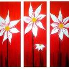 Flowers Sunset -Botanical-handmade painting-set of 3pcs
