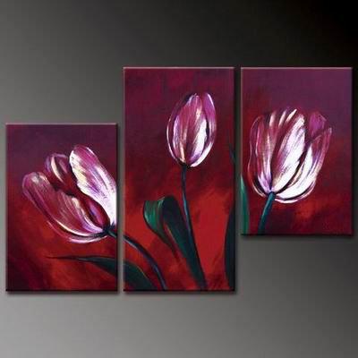 Flowers Purple Tulips -Botanical-handmade painting-set of 3pcs