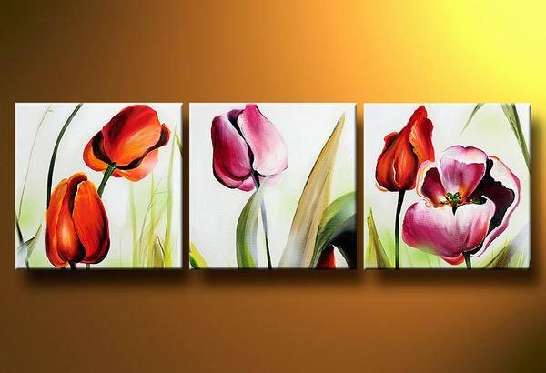 Flowers Beautiful Tulips -Botanical-handmade painting-set of 3pcs