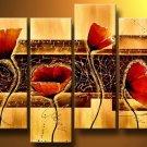 Red poppy-Botanical-handmade painting-set of 4pcs