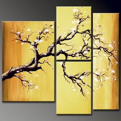 Flowers Cherry Blossom -Botanical-handmade painting-set of 4pcs