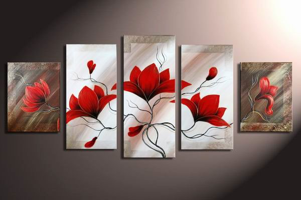 Flowers Slow Wind -Botanical-handmade painting-set of 5pcs