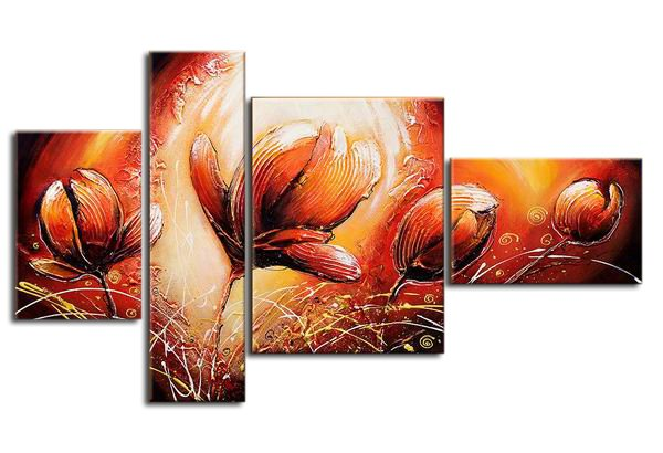 Tulip -Botanical-handmade painting-set of 4pcs
