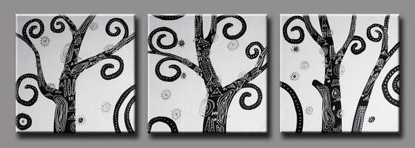 Retro -Abstract , Botanical-handmade painting-set of 3pcs