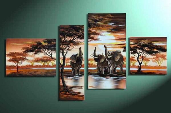 Elephants -Landscape , Botanical , Animal-handmade painting-set of 4pcs