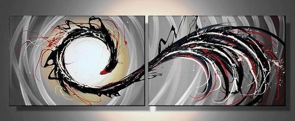 Phenix -Abstract-handmade oil painting-set of 2pcs