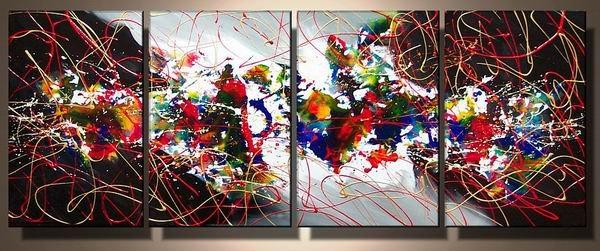 Mumbai -Abstract , Landscape-handmade painting-set of 4pcs