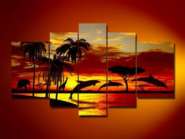 Dolphins at dawn -Landscape , Botanical , Animal-handmade painting-set of 5pcs