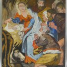 Vintage Modernist Original Oil 50s Painting George Turk Nativity Religious Art