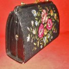 Vintage 60s Structured Hand Bag Needlepoint Black Top Opening ADG Hong Kong